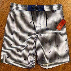 NEW Izod Mazarine Blue Striped Anchor Swim Trunks